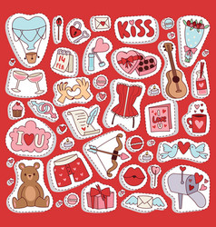 Valentine day icons symbols vector