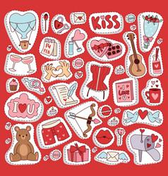 valentine day icons symbols vector image
