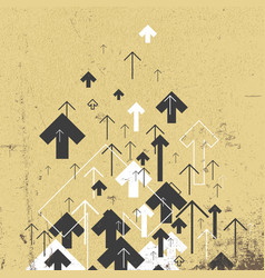 vintage success concept growing arrows motion up vector image