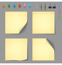 Yellow notice papers with elements for attaching vector image