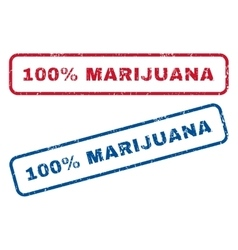 100 percent marijuana rubber stamps vector