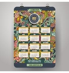 Cartoon doodles hippie 2017 calendar template vector