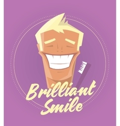 Poster with man smiling white healthy teeth vector