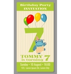 Kids birthday party invitation card vector