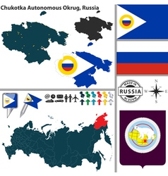 Map of autonomous okrug chukotka vector