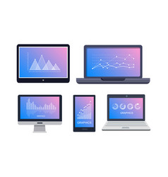 Graphics on technological equipments on white vector