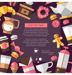 Flyer of modern flat design coffee-shop cafe and vector