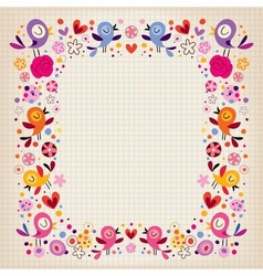Birds and flowers border vector