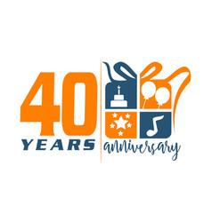 40 year gift box ribbon anniversa vector