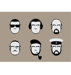 Set of icons of male stylized faces vector