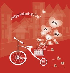 The bike features a heart balloon vector