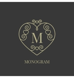 Heart monogram vector