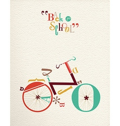 Back to school type font hipster bike vector