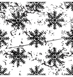 Snowflake pattern grunge monochrome vector