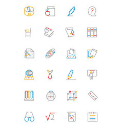 School and Education Colored line Icons 3 vector image