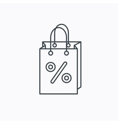 Shopping bag icon sale and discounts sign vector
