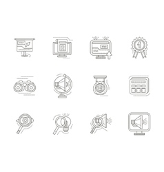 Seo thin line icons set vector