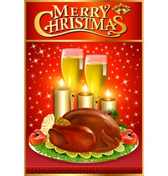 Christmas greeting card with turkey and candles vector image