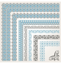 Decorative seamless islamic ornamental border with vector