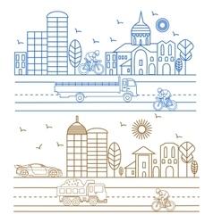 City birds buildings cathedrals vector image