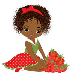 African american girl with strawberries vector