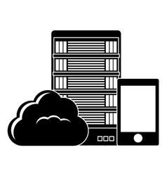 Black database hosting and tuning smartphone image vector