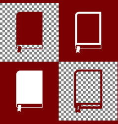 Book sign bordo and white icons and line vector