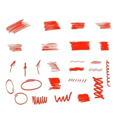 Different design elements brush strokes isolated vector