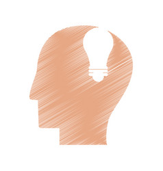 drawing profile head idea light icon vector image