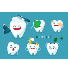 Emotion of tooth vector image