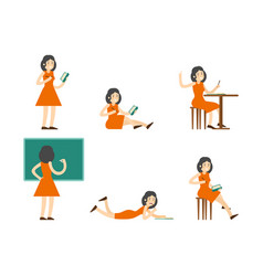 flat studying woman set vector image vector image