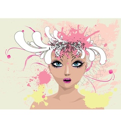Floral portrait vector image vector image