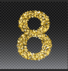 Gold glittering number eight shining golden vector