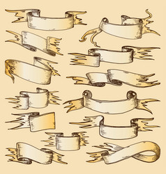 hand drawn ribbons old fashioned paper vector image