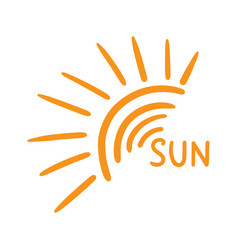 Hand drawn sun icon isolated on white background vector