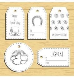 Happy st Patricks day gift tags with line icons vector image vector image
