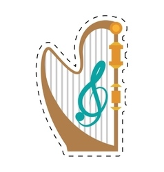 Harp musical instrument concert dotted line vector