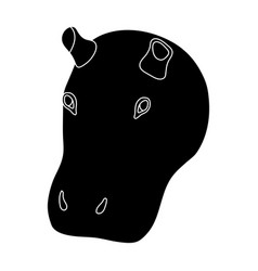 hippopotamus icon in black style isolated on white vector image vector image