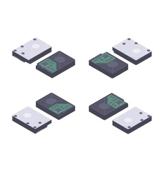 Isometric flat hdd hard drive disk vector