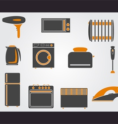 Kitchen simple icons vector image