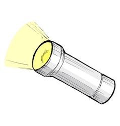 Metallic flashlight vector