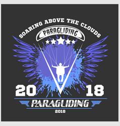 paragliding sport emblem vector image