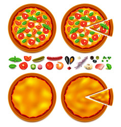 pizza ingredients constructor top view vector image vector image