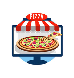 Pizza online icon vector