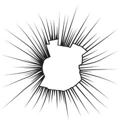 Radial cracks on broken white glass vector