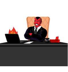 Satan boss sitting in office devil of workplace vector