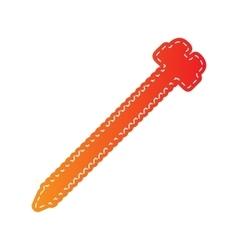 Screw sign Orange applique isolated vector image