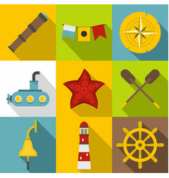 sea party icons set flat style vector image