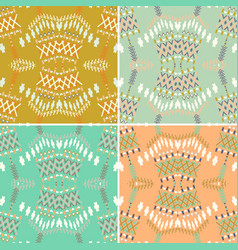 set of ethnic seamless pattern aztec geometric vector image