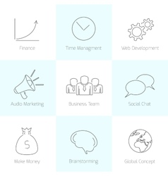 Set of line business icons vector image vector image